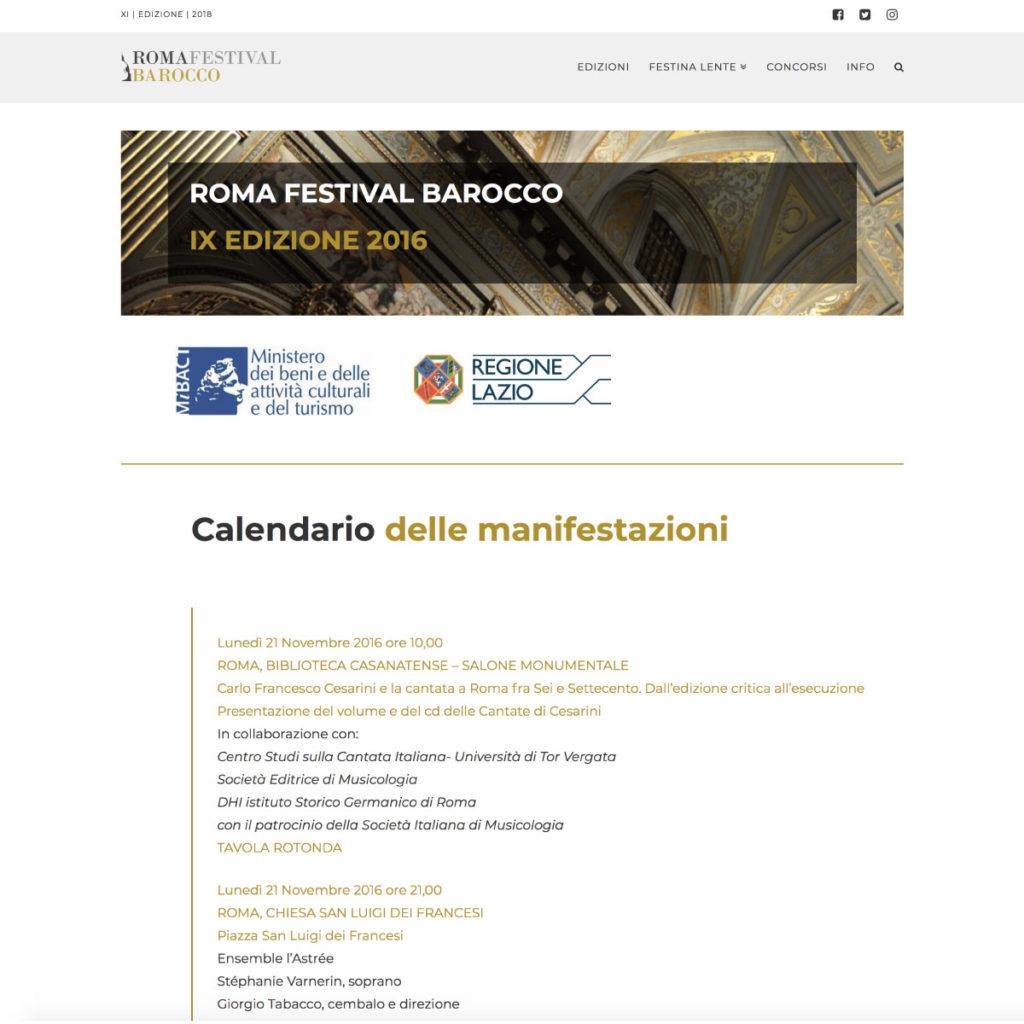 Roma Festival Barocco | Sito web statico